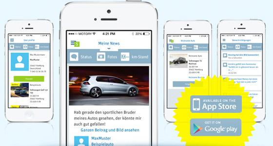 Mobile App von Motory: Zugriff auf das Autoprofil per Smartphone